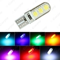 1 pc T10 194 501 W5W 5050 6SMD Carro Silicone Side LED Dome Mapa Luz Cunha Lâmpada 7-Color # CA2905