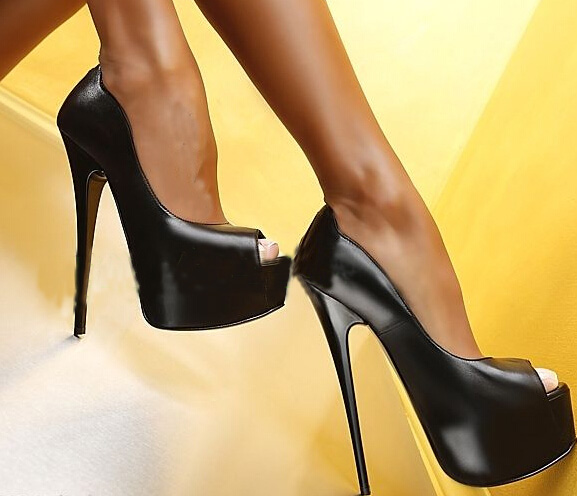 ФОТО High quality leather platform pumps woman sexy peep toe high heel shoes 2017 slip-on dress heels super high club wear shoes
