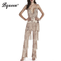 Bqueen 2019 New Women Sexy Full Length Pant Bandage Jumpsuit Sequins Tassel Skinny Rompers Lady Fashion Club Party Jumpsuit