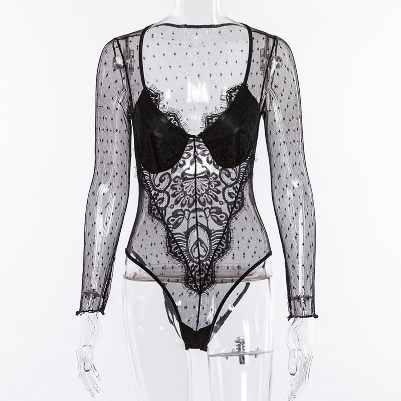 7e8c31b51351 Black Floral Lace Bodysuit Tops Sheer Sexy Perspective mesh Jumpsuit Long  Sleeve Women cute Overalls Ladies White Party Playsuit | KDExpress