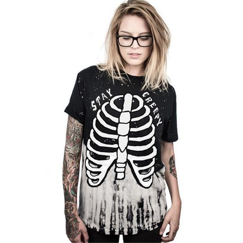 2017 Summer Women's Clothing Tops Tees Skeleton rack Digital print movement Pleasantly cool Loose leisure O-Neck Long T-Shirts