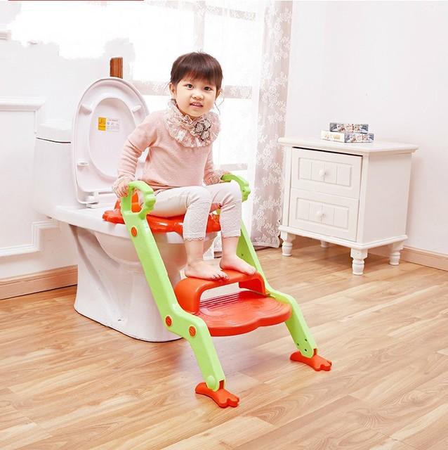 2016 novo estilo do bebê Potty assento com escada crianças higiênico tampa de assento, Dobrável infantil Potty Training presidente portátil Potties
