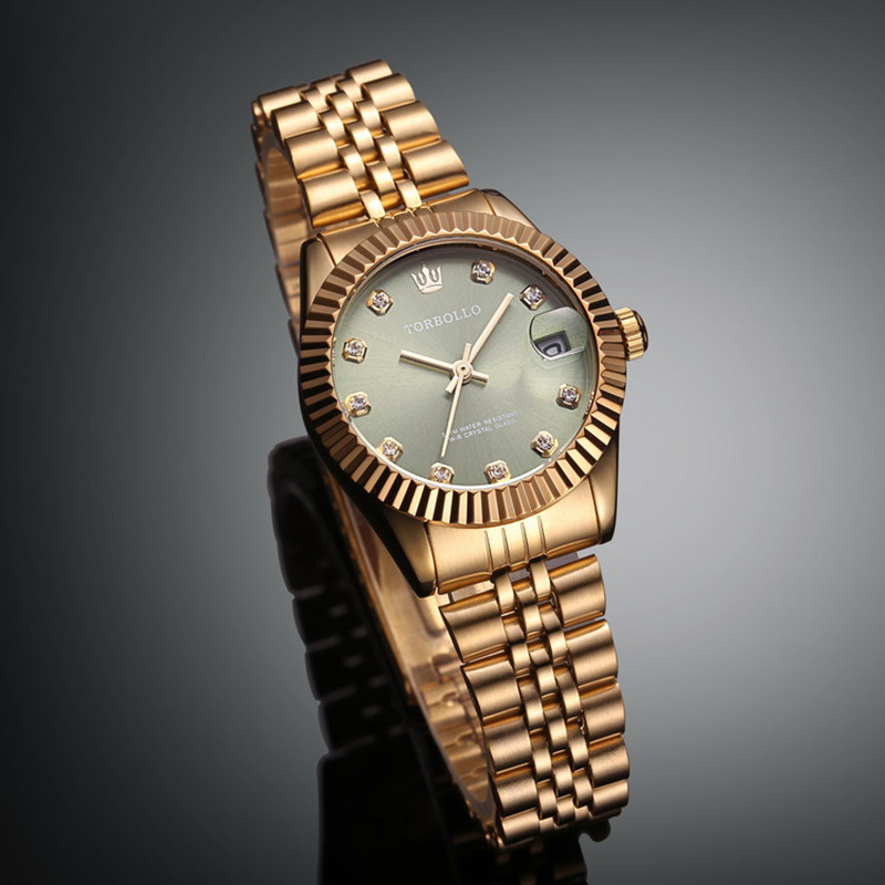 Brand New Luxury Lady Dress Style Steel Wristband All Gold Green Dial Women Quartz Watch With Box