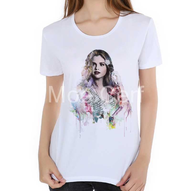 Selena Gomez Beyonce lady gaga Print 3d Character t shirt White summer short sleeve o neck Casual Hipster t shirt women L17-40