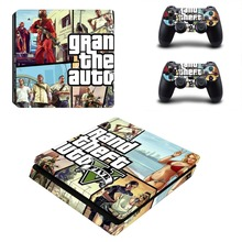 GTA 5 Vinyl Decal PS4 Slim Skin PS4 S Sticker for Sony Playstation Console System & 2 Controller Stickers Cover