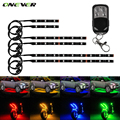 Onever 6PC RGB LED Universal Motorcycle Glow Flexible Under Car Strip Flash Light Lamp With Remote Multi Color Neo Light