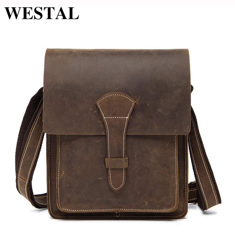 WESTAL Crazy Horse Genuine Leather Men Bag Male Vintage Shoulder Bags Small Crossbody Bags Hasp Flap Messenger Bag Men Leather