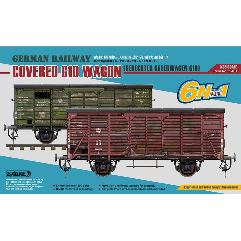 SABRE 35A01 1 35 German Railway Covered G10 Wagon Scale Model Kit