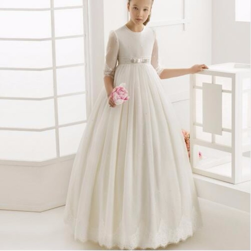 Flower     Girl     Dress   2019 First Communion   Dresses   For   Girls   1/2 Sleeve Pearls Belt With   Flowers     Girl     Dress   Customized