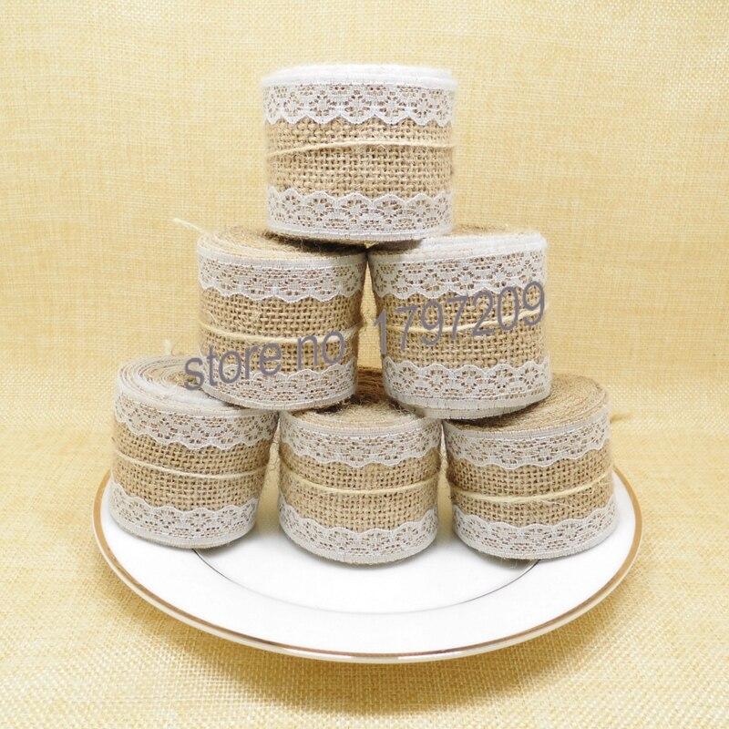 4pcs Jute Burlap Hessian Ribbon with write Lace DIY Wedding Cake ...