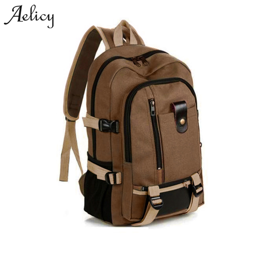 Aelicy Travel Rucksack Multifunctional Travel Bucket Backpack Men Rugzak  3 Colors Canvas College Student School Backpack  2019