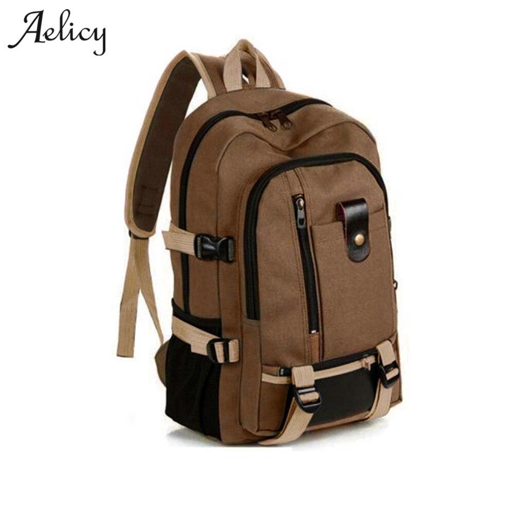 Aelicy Travel Rucksack Multifunctional Travel bucket Backpack Men Rugzak 3 Colors Canvas College Student School Backpack 2018