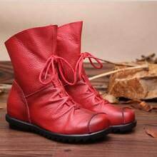 Высокое качество женщин кожаные ботинки неподдельной кожи вскользь женщин плоские ботинки Мартин плоские ботинки ZCW1806
