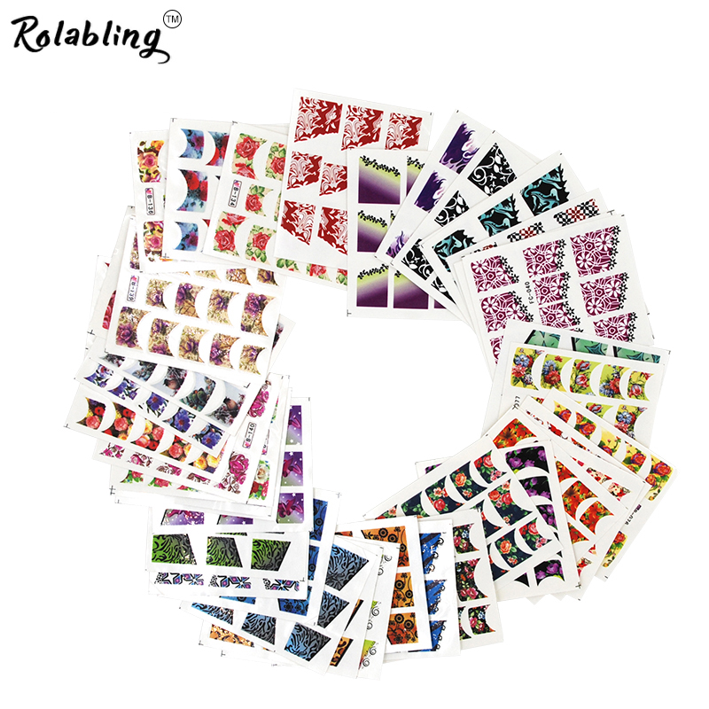 Rolabling Hot Sale Beauty Pattern French Nail Sticker Tips Nail Art Decoration Water Transfer Nail Sticker Manicure Decal rolabling 110v
