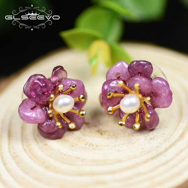 GLSEEVO Designer Original Natural Amethyst Tourmaline Stud Earrings For Women Flower 925 Sterling Silver Earring Jewelry GE0019A