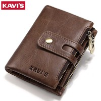 KAVIS Brand Genuine Leather Wallet Men Coin Purse Small Male Cuzdan Walet Portomonee PORTFOLIO Clamp Money