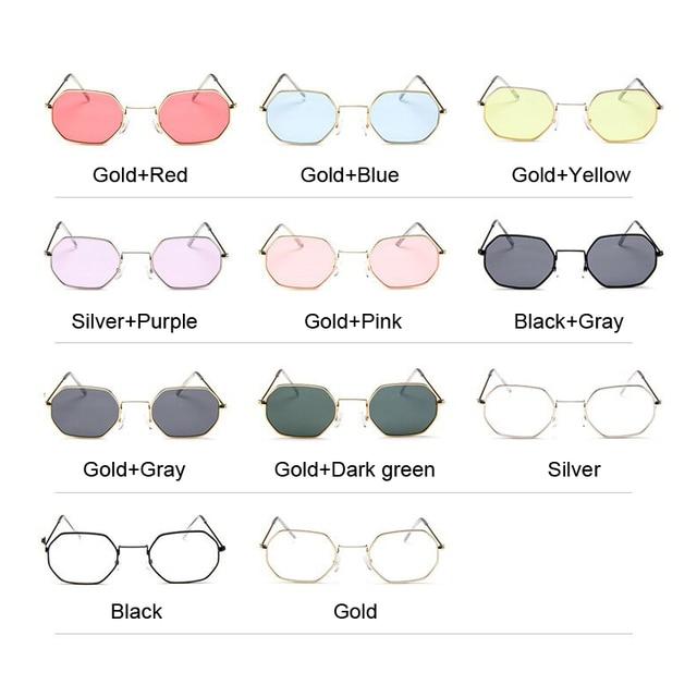 Fashion Sunglasses Women Brand Designer Small Frame Polygon Clear Lens Sunglasses Men Vintage Sun Glasses Hexagon Metal Frame 5