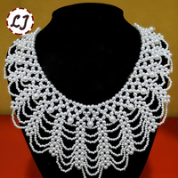2015 New Fashion Romantic 2pcs Lot Sew On False Collar Necklace Plastic Pearl Women Clothing Accessories
