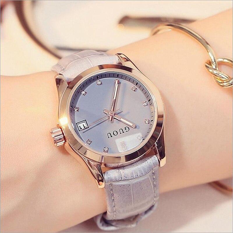 GUOU relojes mujer moda moderno diamante reloj de cuero elegante Auto Date señoras reloj relojes mujer relogio feminino