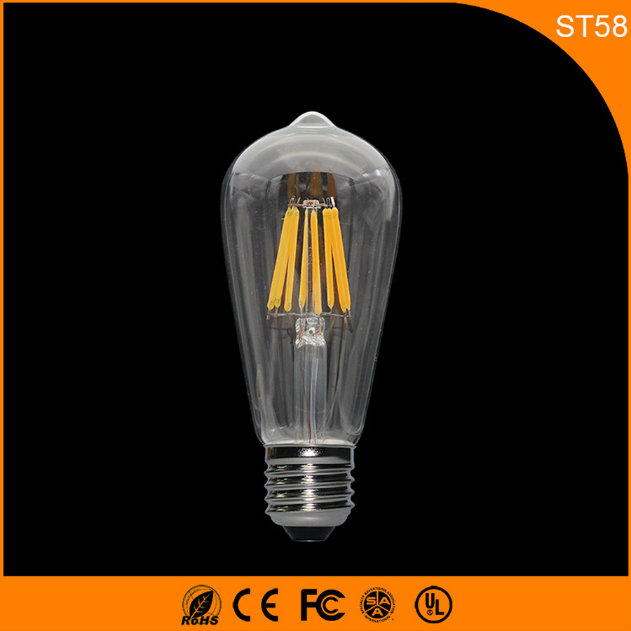 50PCS Retro Vintage Edison E27 B22 LED Bulb ,ST58 6W Led Filament Glass Light Lamp, Warm White Energy Saving Lamps Light AC220V 5pcs e27 led bulb 2w 4w 6w vintage cold white warm white edison lamp g45 led filament decorative bulb ac 220v 240v