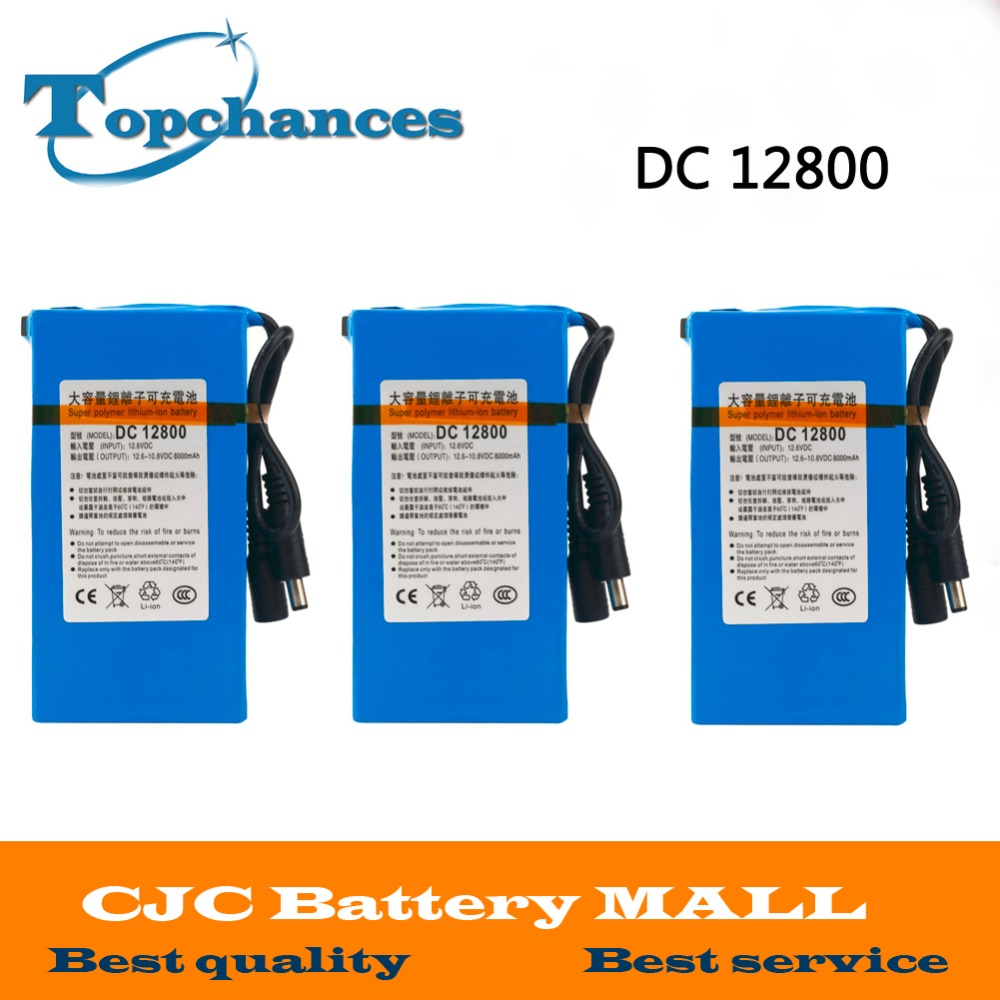 3X High Quality Newest Super Rechargeable Portable Lithium-ion Battery <font><b>DC</b></font> 12V 8000mAh DC12800 With Plug image