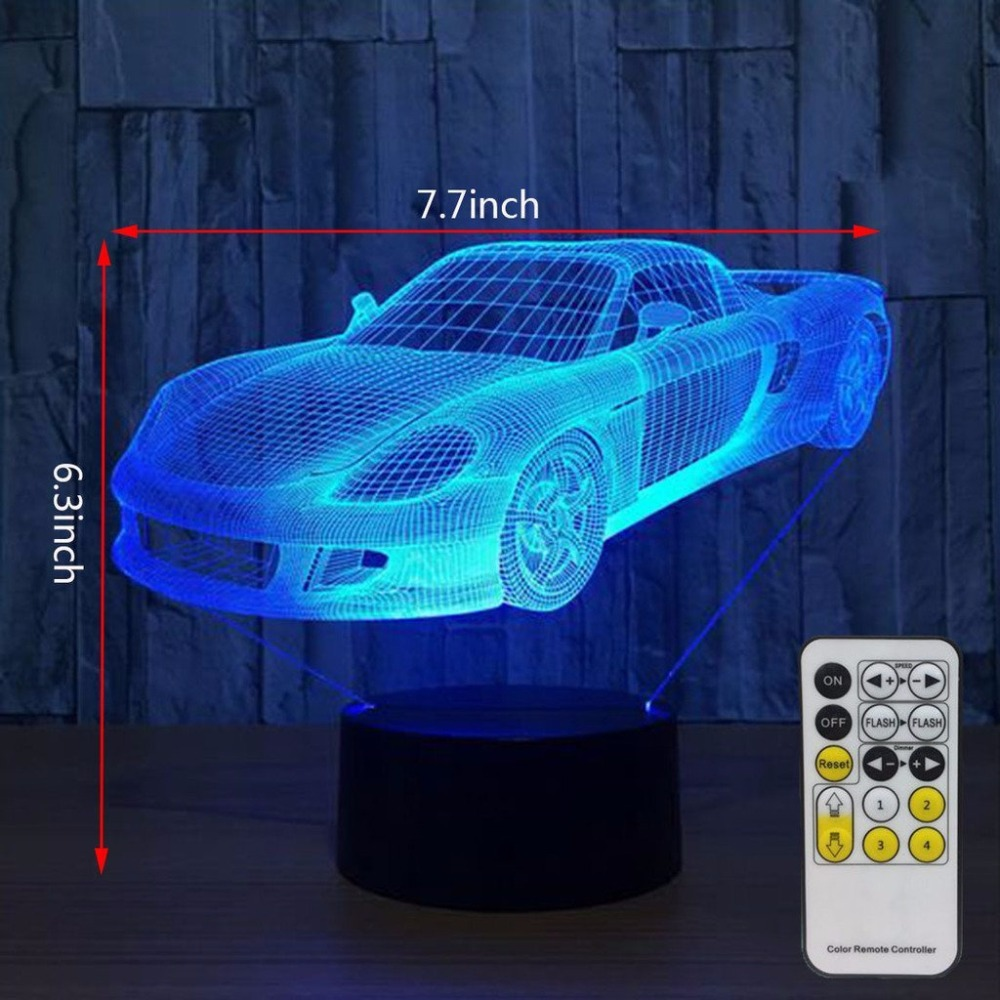 3D Night Lights for Kids with Remote Controller or Touch Sensor LED Touch 7 Colors Changing Toy Car Desk Lamp Free Drop Shipping