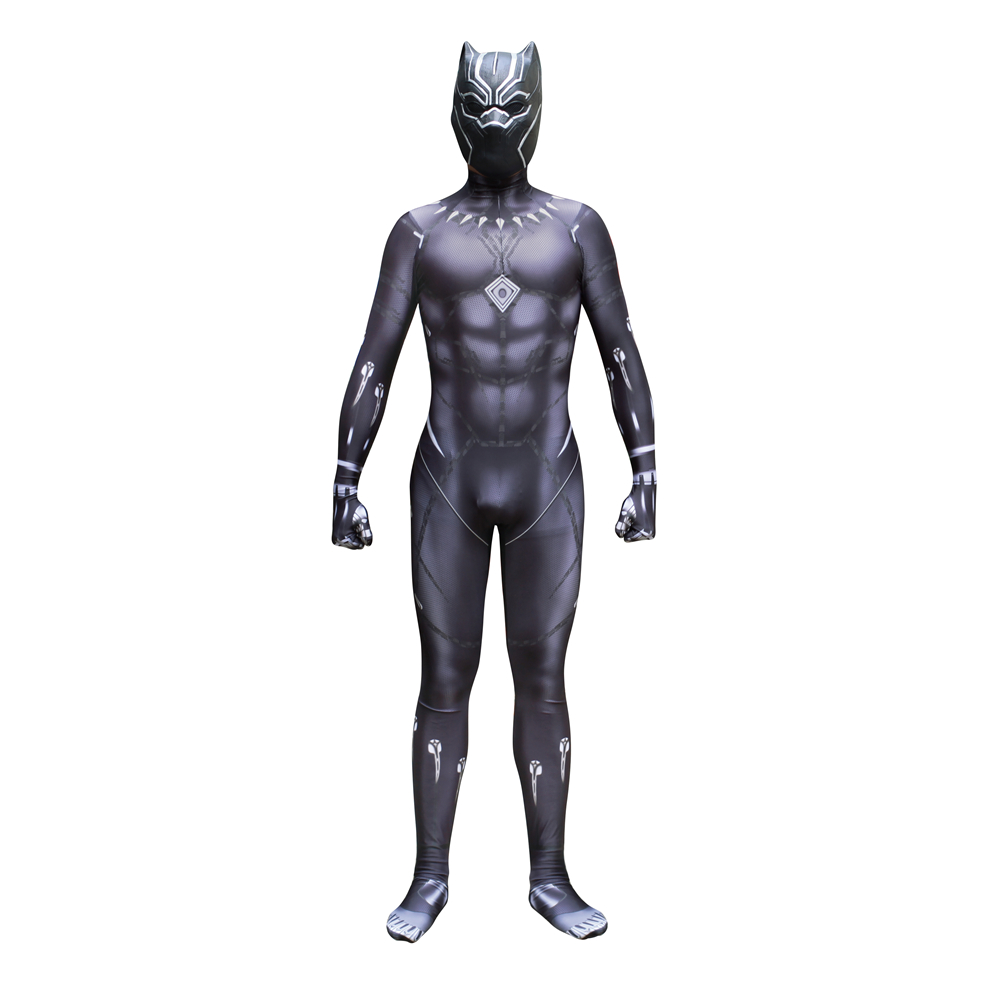 Black Panther Captain America 3 Civil War Cosplay Costume Kid's Men jumpsuit + Mask set holloween party cos