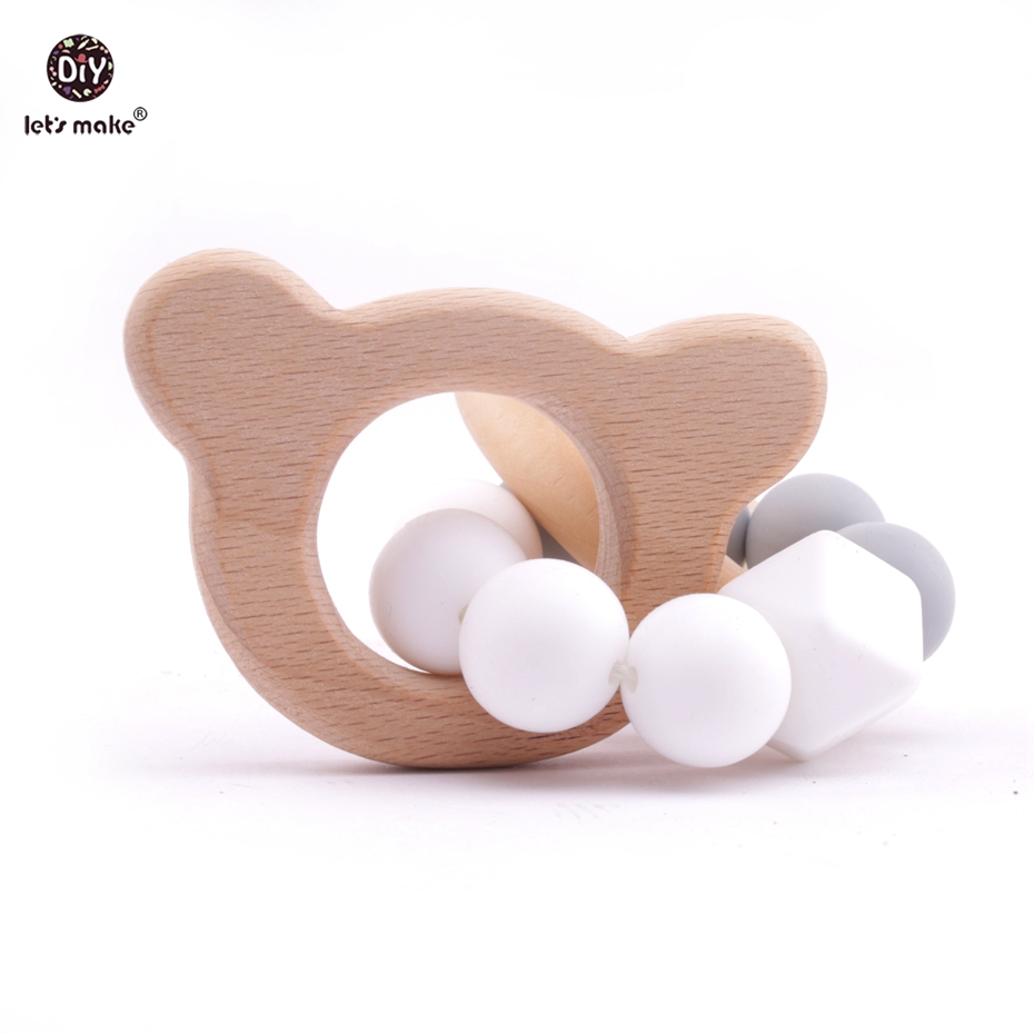 Lets make 1pc Wooden Bracelet Animal Shaped Jewelry Teething For Baby Silicone Chewable Beads Baby Shower Gift Rattle Stroller