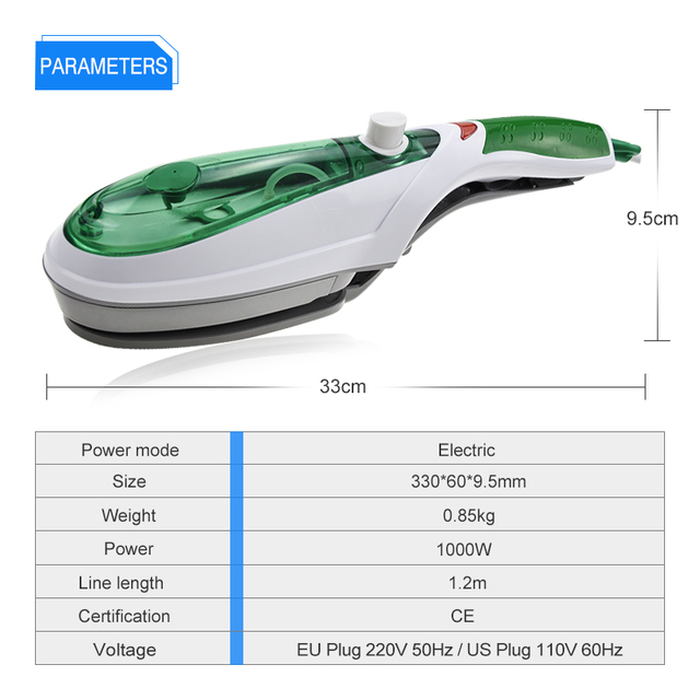 Portable Steam Iron with Brush for Garment