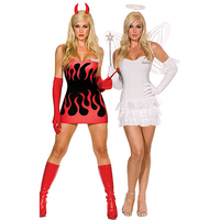Devil Or Angel Reversible Sides White Red Fancy Dress Cosplay Costume Sexy Halloween Costumes For Women
