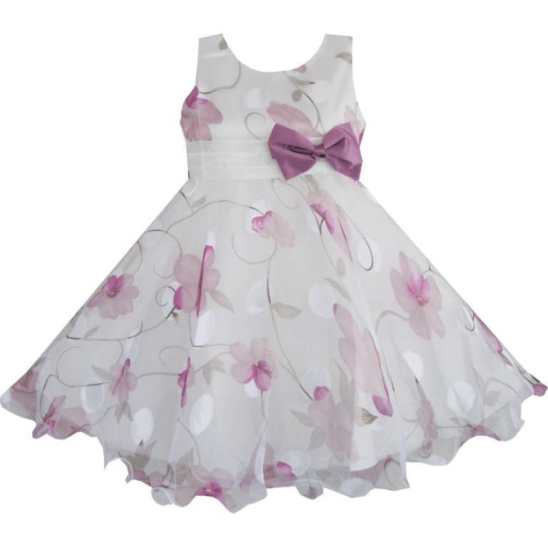 Sunny Fashion Girls Dress Purple Flower Bow Tie Wedding Party Children Clothes Size 2018 Summer Princess Dresses Size 3-8
