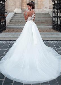 Image 3 - Charming Tulle Wedding Gowns Sleeveless O Neck A Line Dresses with Appliques Sexy Illusion Design Bridal Gowns Cheap