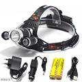 6000 Lumen XML T6+2R5 3*LED Hunting Headlight,Head Lamp Light Flashlight+18650 battery+Car EU/US/AU/UK Charger+USB