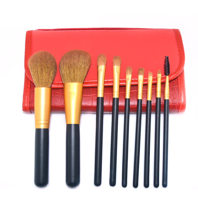 9pcs high quality brushes professional cosmetics tools Set kit wooden handle women make up foundation brushes for eyes face