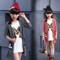 2017 Primavera Outono Meninas Moda Camisola De Malha Cardigan Jaqueta Casaco Roupa das Crianças Crianças Moda Casual Longo Malhas G807