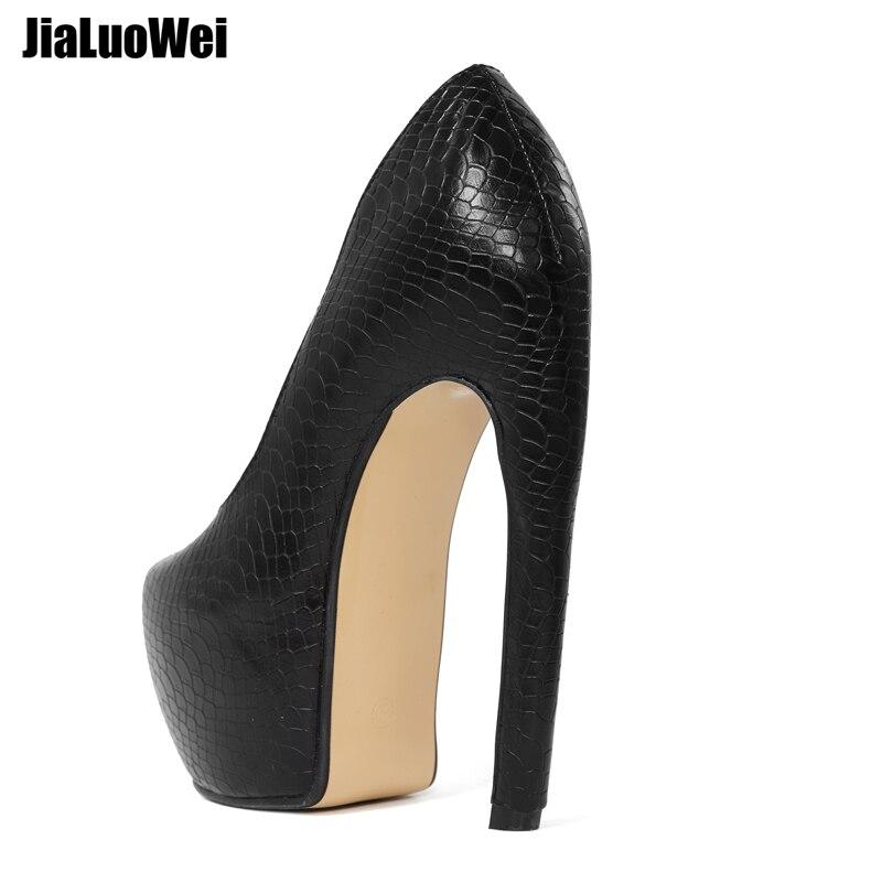 Plataforma cusom Color De Super Tamaño Black Alto Extraño Gran Slip Zapatos Curva Estilo Jialuowei Patrón Mujeres Doblar Serpiente 18 on Tacón Bombas Las Sexy Cm zxwgfSq