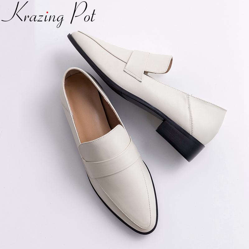 Krazing Pot 2019 Superstar Slip On Round Toe Cow Leather Women Pumps Med Heel Office Lady Loafers Solid Neutral Casual Shoes L05