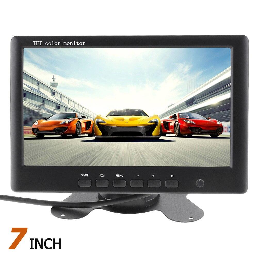 Pantalla TFT LCD HD de 7 pulgadas, monitor de visión trasera de coche, 2 canales, entrada de vídeo para cámara de marcha atrás