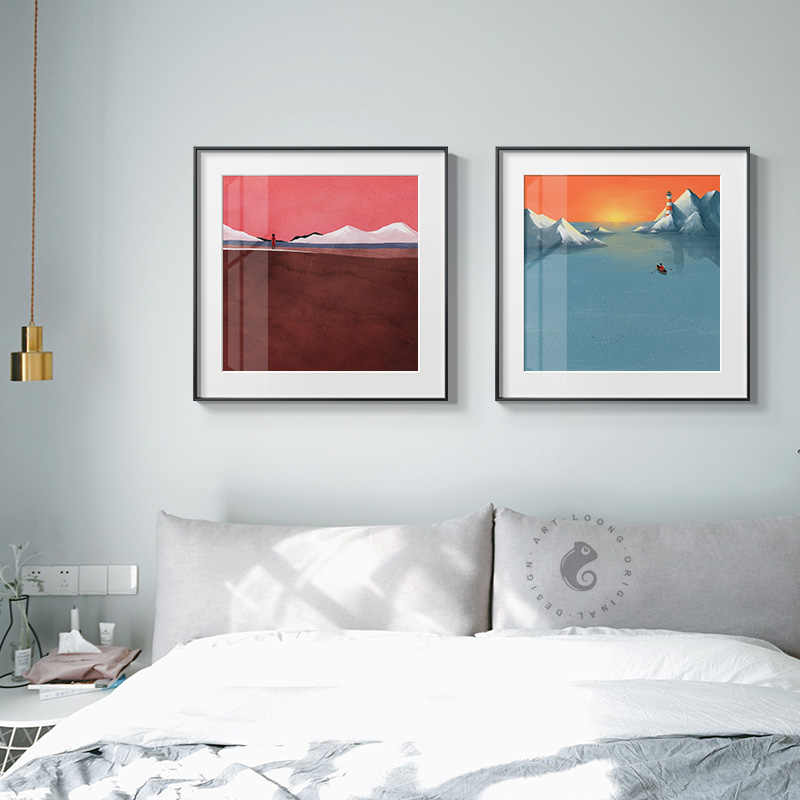 Abstract Colorful Mountains Color Block Canvas Painting Posters Print Modern Wall Art Pictures For Living Room Bedroom Aisle