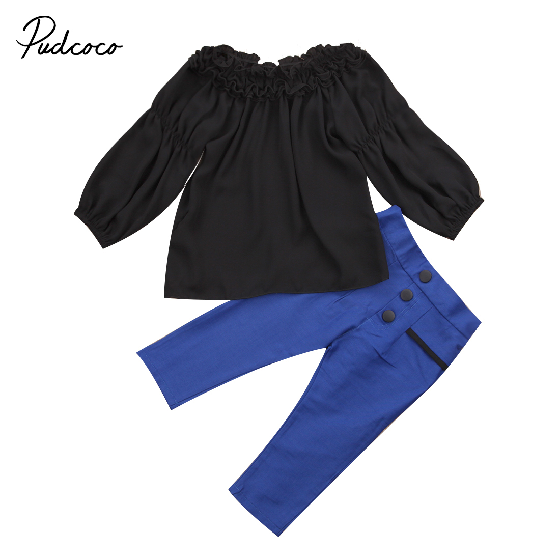Kids Baby Girl Outfit Set Off Shoulder Long Sleeve Shirt Tops+Blue High Waist Pencil Pants 2pcs Outfits Clothes Sets