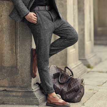 2018 New Metrosexual men winter European style plaid slim stretch woolen casual trousers men business brand fashion long pants