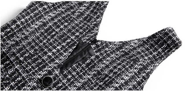 Smthma новые осенние и зимние уличные повседневные женские твидовый в клетку шерстяные платья однобортные тонкие платья-майки