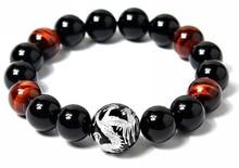 Suerte y la riqueza hechos a mano de la joyería de piedra natural 10 mm ojo de tigre y negro ágata tallada dragón Beads elástico pulsera para hombre