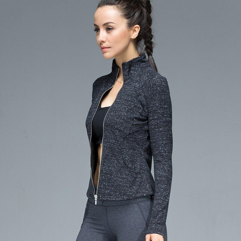 U Women's Sports Jacket Stand Collar Ruched Outerwear Sportswear Ladies Shirt Running Yoga Fitness Zipper Sweater Upperwear