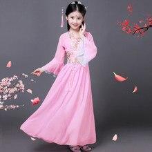 Традиционный Древний китайский костюм для девочек, традиционное китайское платье Тан ханьфу, детская одежда, костюм феи для танцев, для детей