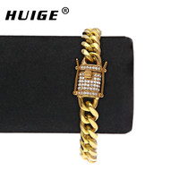 10mm Cuban Bracelet Micro Pave Cubic Zirconia Stainless Steel CZ Link Bracelet Gold Silver Color For
