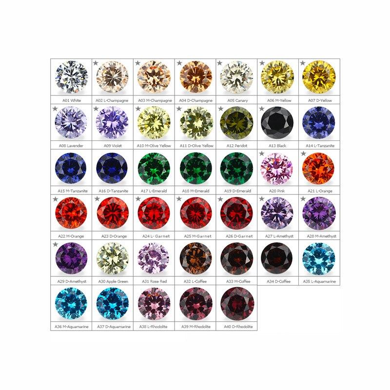 54 pièces CZ pierre 13pc spinelle synthétique 12 pièces corindon synthétique 6mm zircone cubique nuancier