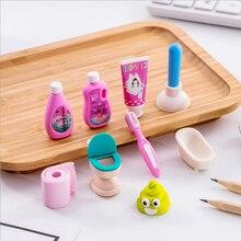 Bathroom-Set Eraser Office-Rubber Painting Special School 4pcs/Lot Erasergive-Your-Child-A-Reward-Gift