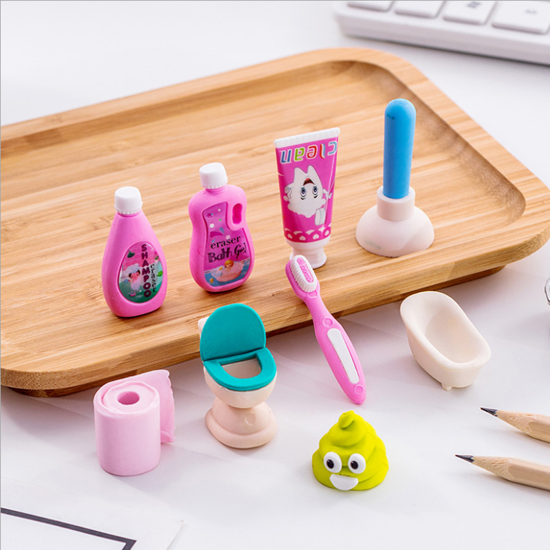 4pcs/lot  Bathroom Set Eraser School Office Rubber Eraser Special Painting Classic Old Brand EraserGive Your Child A Reward Gift