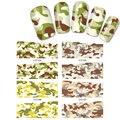 4 Листов Смешайте Стили Камуфляж Leopard Вода Передача Таблички Дизайн полное покрытие ногтей наклейки Nail Art Стикер Воды Наклейки Для Ногтей